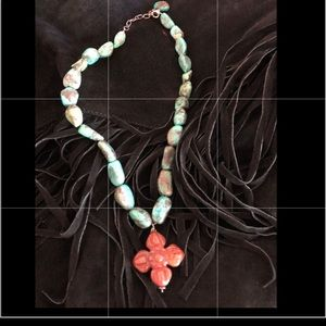 Jewelry - Turquoise necklace with coral cross